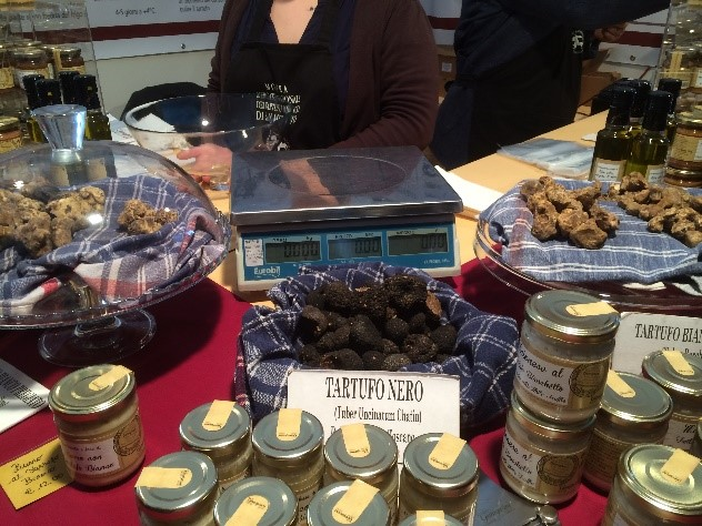 Black truffles on display