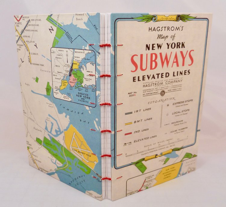 Map Of Greater New York City Area.New York City Maps Journal Hand Sewn