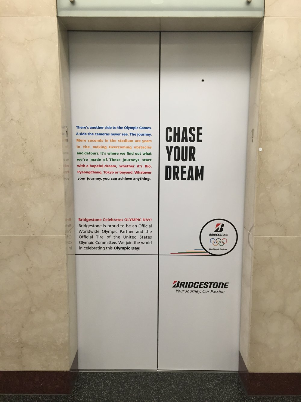 Elevator Wraps installed in Bridgestone's Headquarters for 2016 Olympics