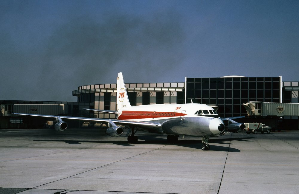 The Museum's Convair 880 in San Francisco in the 1960's sporting its TWA (Trans-World Airlines) colors.  Photo courtesy Harry T. Peat, Jon Proctor Collection