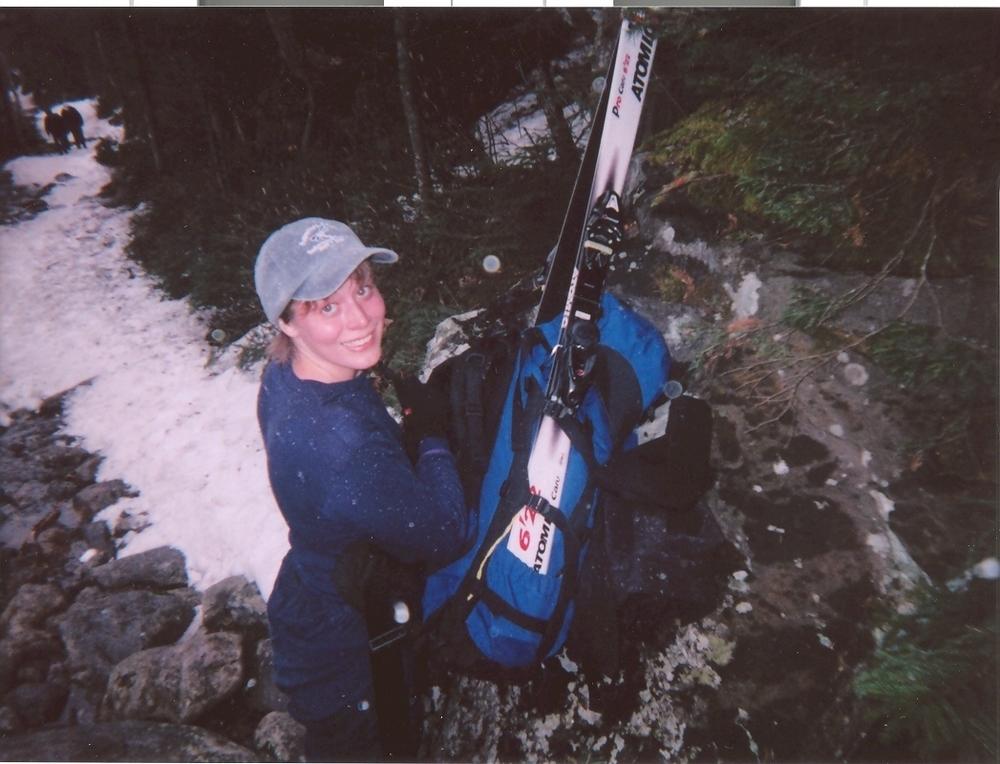 Hiking to ski Tuckerman Ravine, White Mountains, NH