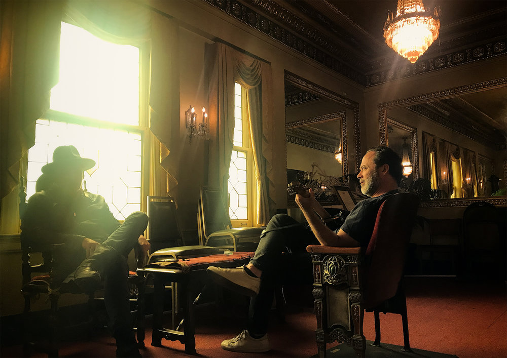 Director Derrick Borte and Michael Marquart at Byrd Theater in Richmond during filming for Savior.