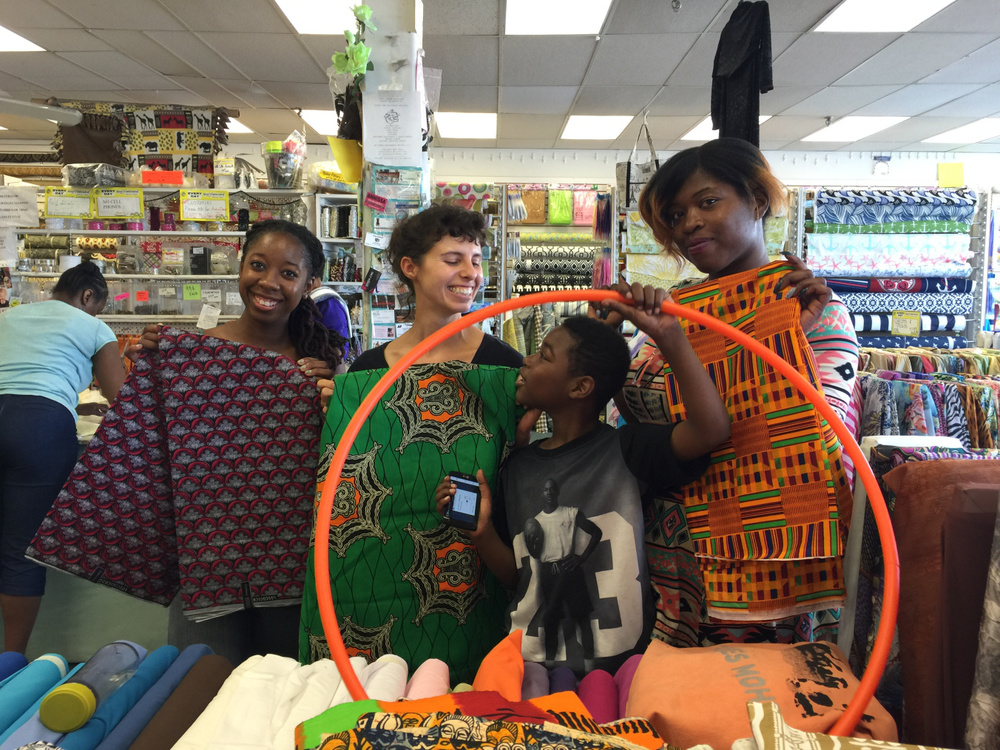 Mechelle, Claudia, Austin, and Cadieja at Sewfisticated – happy to find beautiful African Prints