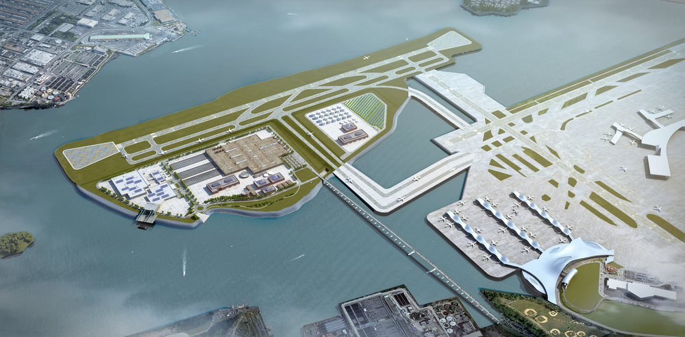 Scenario 2 - Hybrid Scenario. LaGuardia Airport gets an additional runway to alleviate congestion. The island would also house a portion of waste and energy program elements.