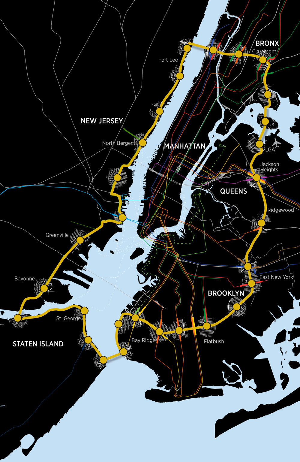 An elevated mass transit line connecting all 5 boroughs and New Jersey. The line would reach the marginalized and underserved communities of South Brooklyn and the south Bronx