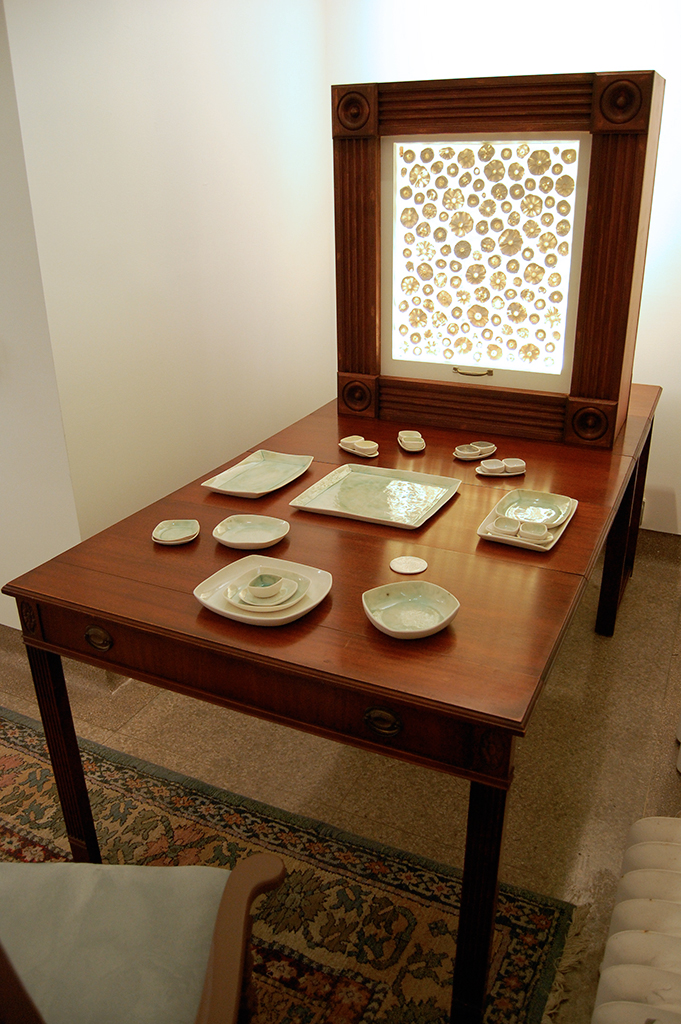 """""""While I Sit And Stare""""  Radial  Wood, Porcelain & Antique Desk  $4900"""