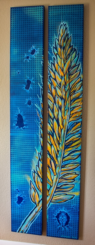 """""""The Edge of Man, Now and Then-Venus and Grass"""" 1'x7' Each Spray Paint On Stretched Canvas $1200 Set"""