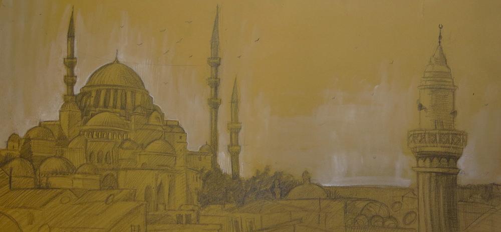 """""""Suleymaniye"""" Mixed Media on Paper, 2013. Drawn on location in Istanbul, Turkey. $300"""