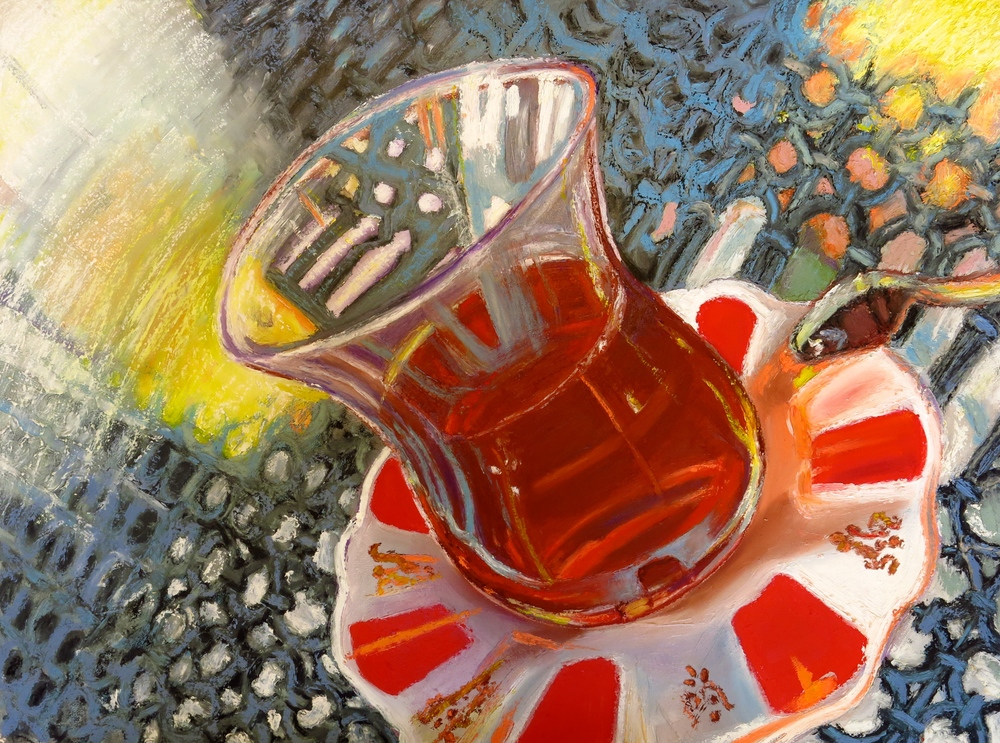 """  Çay Bardağı"" Oil Stick on Prepared Paper, 2014. $450"