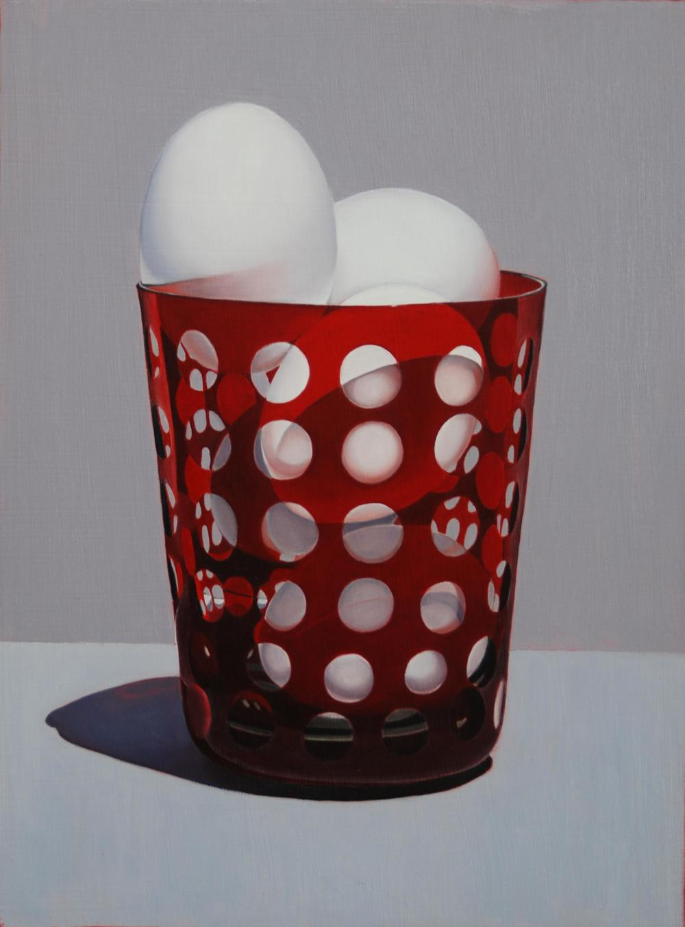 """""""Eggs In Red Glass"""" 20""""x16"""" Oil $2,000"""