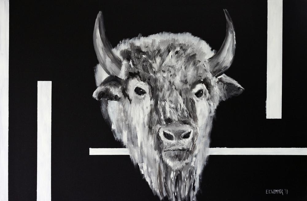 """""""Buffalo"""" 24""""x36"""" Acrylic On Canvas $2000"""