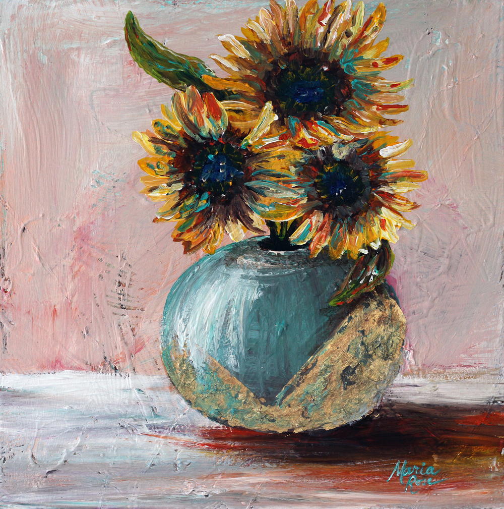 """""""Bouquet 7"""" 12""""x12"""" Acrylic On Canvas $450"""
