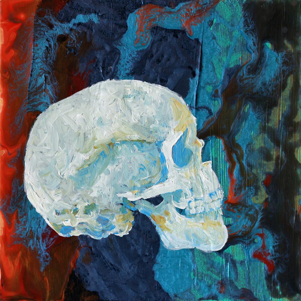 """Skull 3"" 10""x10"" Acrylic On Canvas $400"