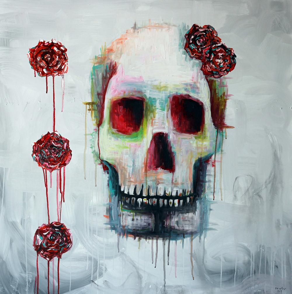 """Skull 2"" 40""x40"" Acrylic On Canvas $5000"