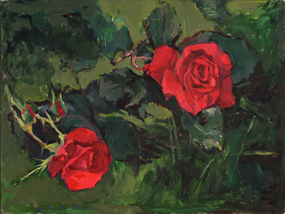 """""""Roses"""" 9""""x12"""" Oil On Clayboard $800"""