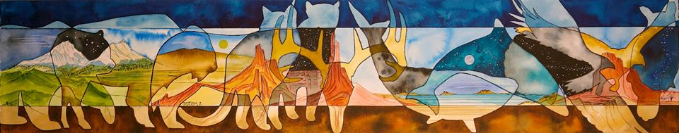 """""""Totem II"""" 6""""x30"""" Ink On Watercolor Paper $750"""