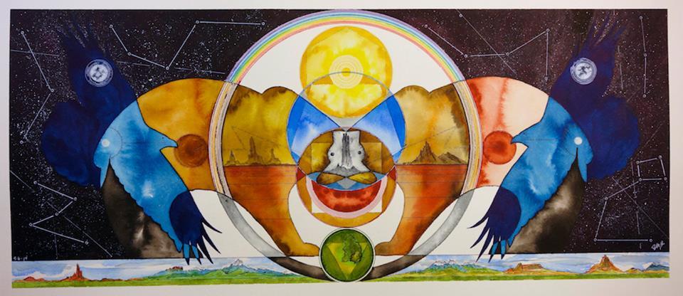 """Bear/Raven Mandala"" 10 1/2""x36 1/2""Ink On Watercolor Paper $850"