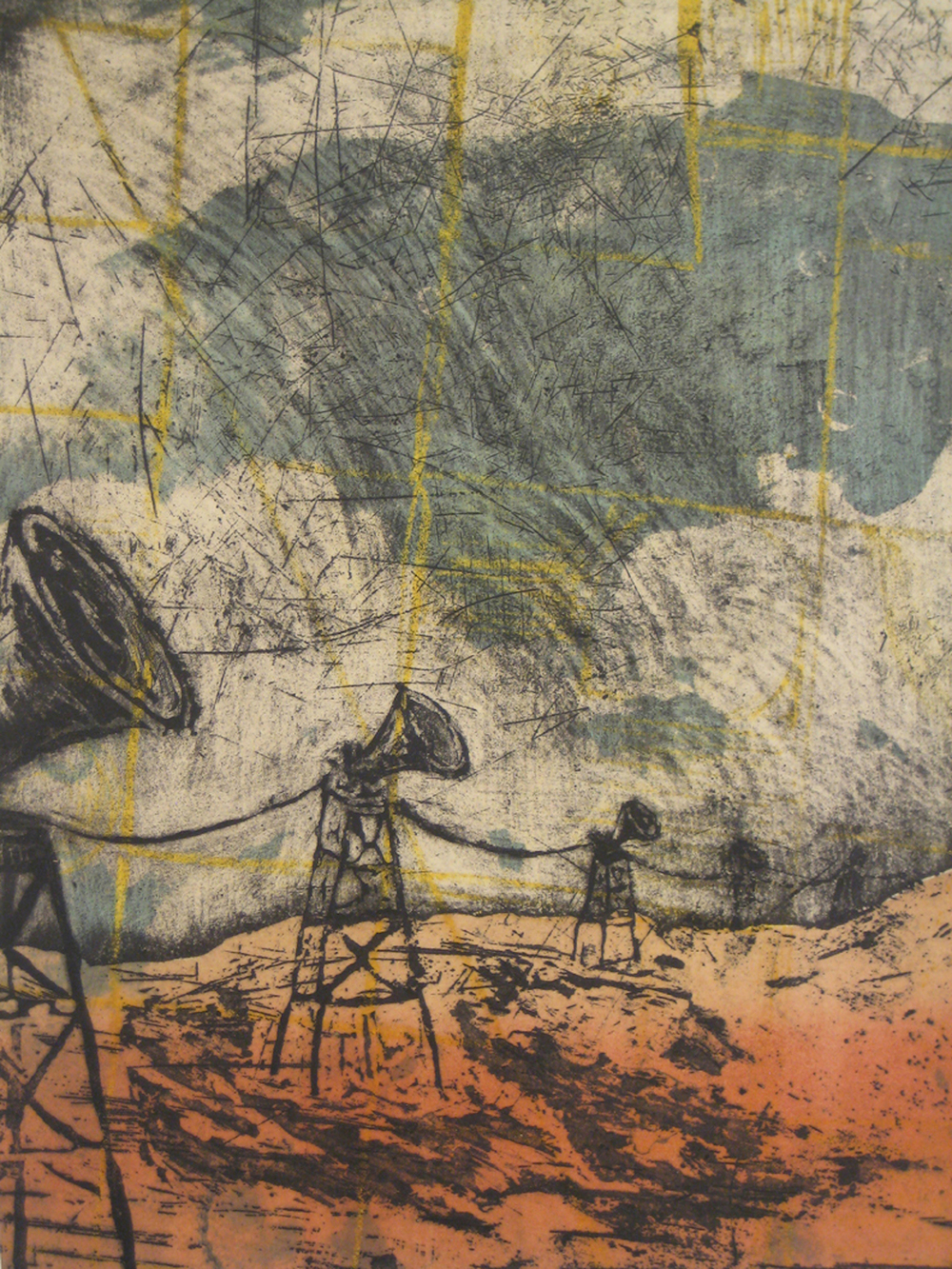 """""""Recollection: Are You There?"""" 19""""x23"""" Stone Lithograph, Chine Collé $350"""