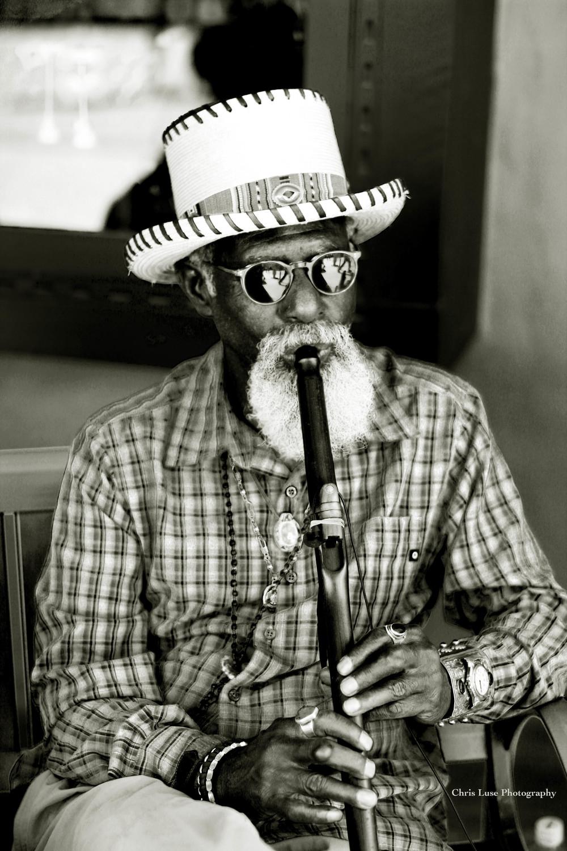 """Man and his flute Santa Fe NM"" Silver Gelatin B&W Photo Toned In Tea $450"