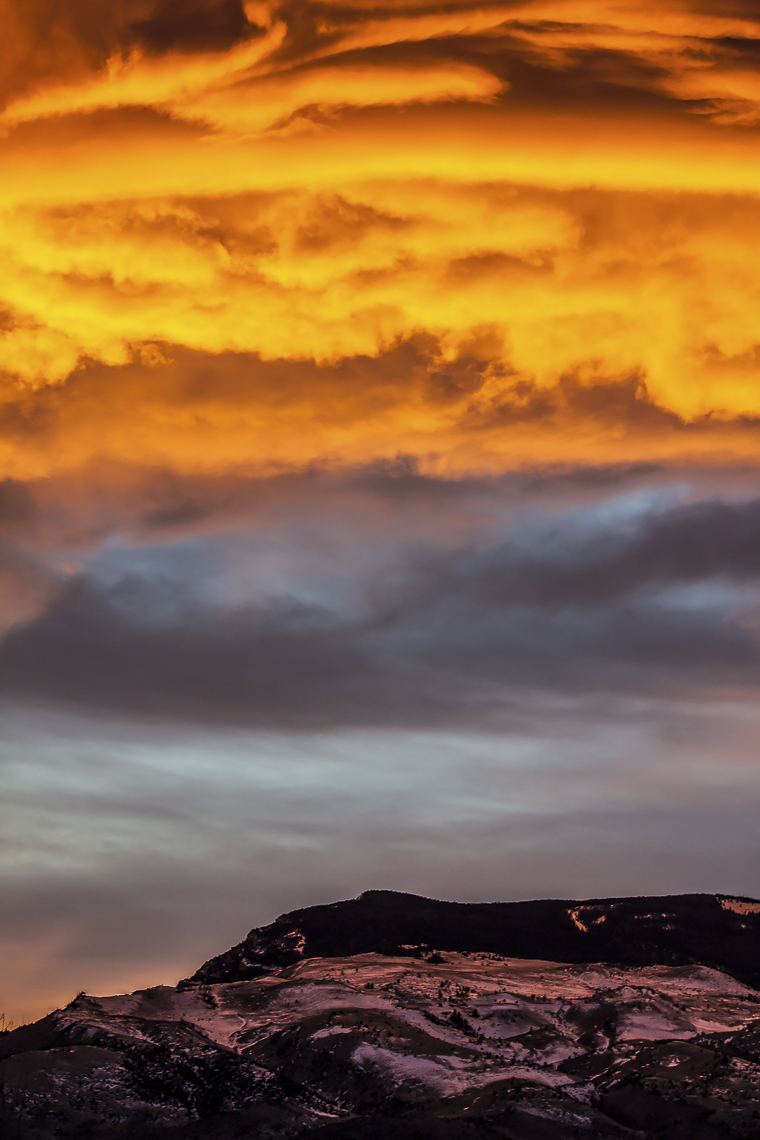 Fiery Sunset on Rattlesnake Mountain    Fine Art Framed $475