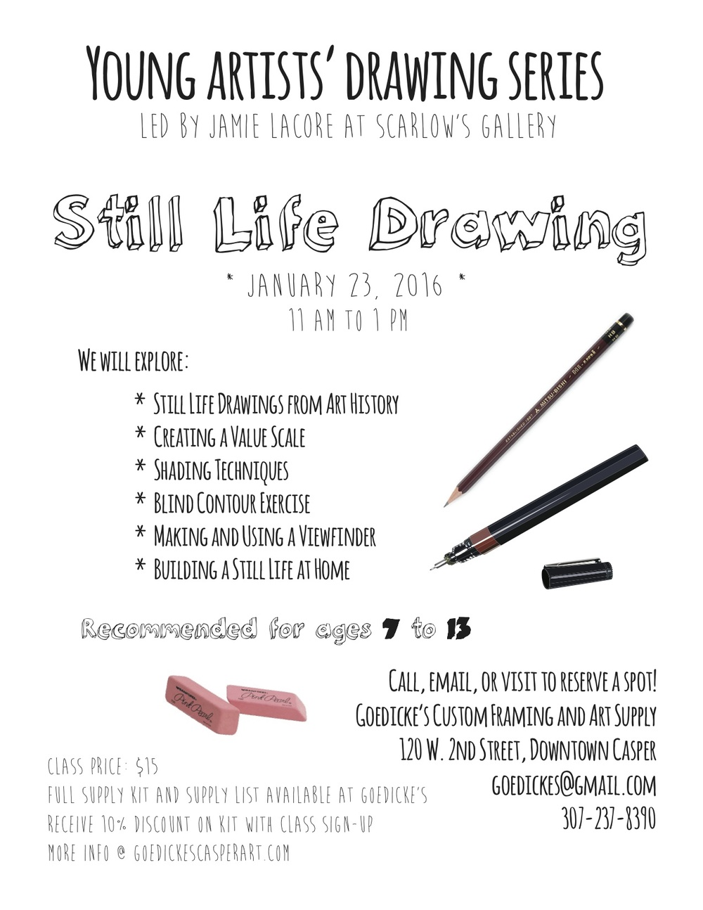 Young Artist Drawing Series: Still Life Drawing — Goedicke's