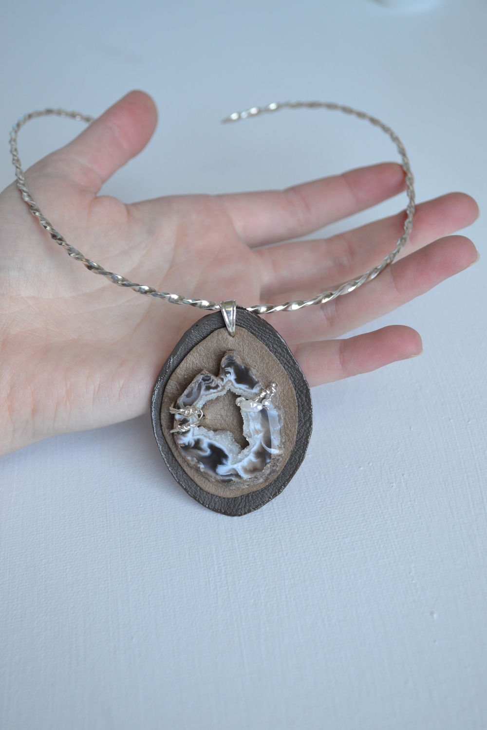 My Favorite Style Of Necklace For Everyday Wear - The Twisted Collar With The Agate Slice Pendant. By lewdesigns.com.JPG