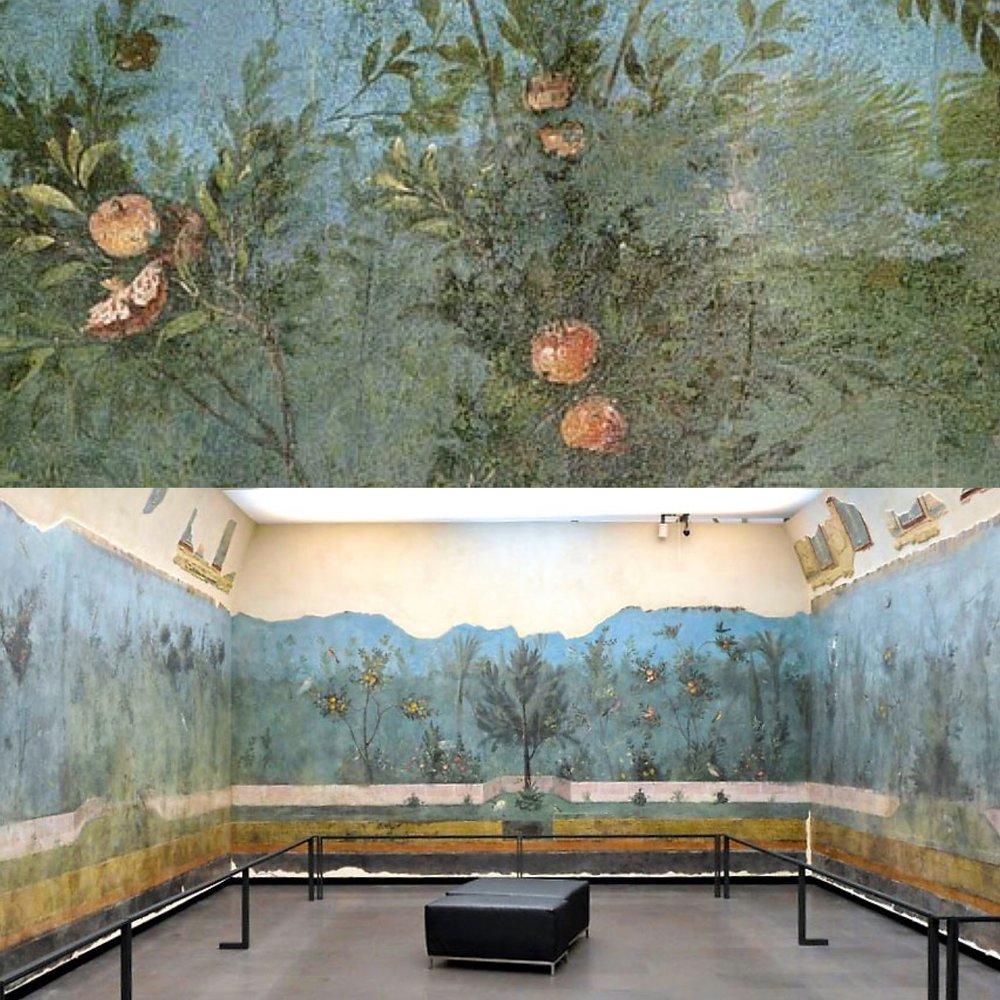 Ancient Roman fresco - Pomegranate tree - Villa di Livia (Rome)