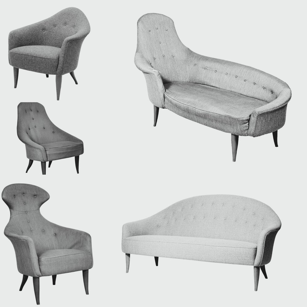 Pieces from the Paradise Collection designed by Kerstin Hörlin-Holmquist for Nordiska Kompaniet's Triva series in 1958
