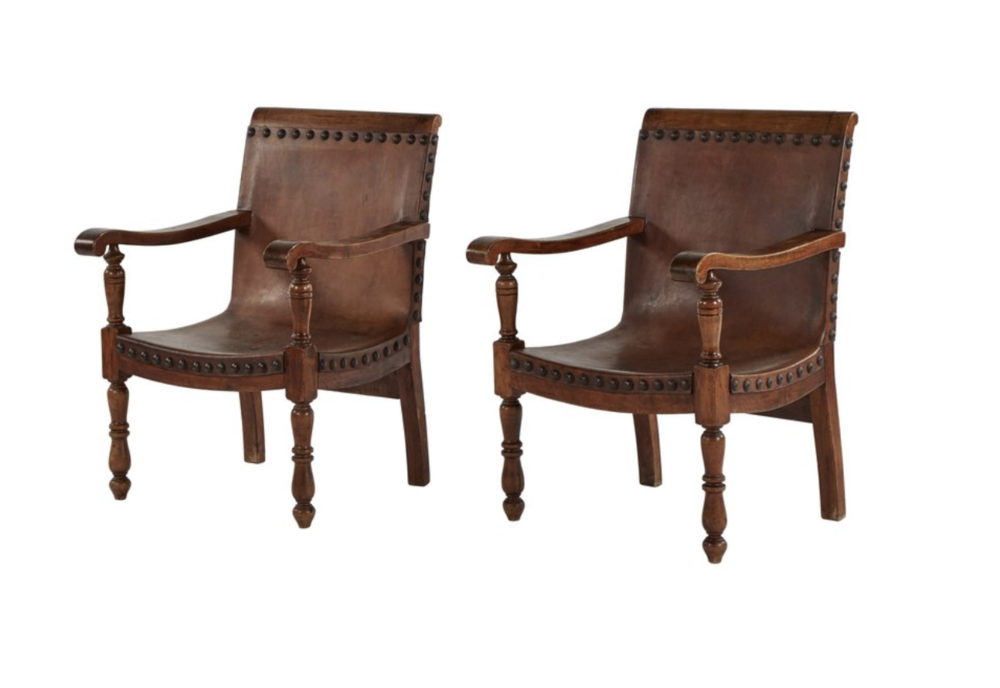 Spanish Colonial Chairs with deep seat and armrest