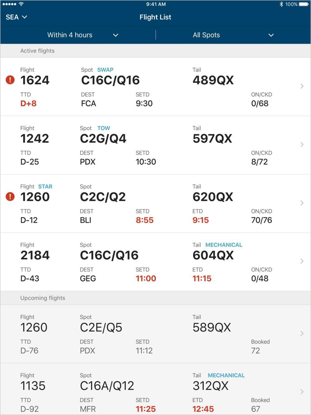 2 - Flight list screen.png