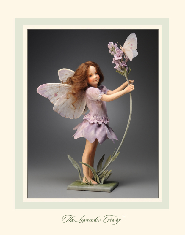 The R. John Wright Flower Fairies™ made their debut at a special ticketed dinner event held during the first R. John Wright convention in 2009. This important series broke new ground both artistically and technically and marked a major departure in the construction of R. John Wright dolls. In order to closely evoke the various poses of the Flower Fairy characters as depicted in the original Cicely Mary Barker illustrations, a completely new jointing system was devised. Each fairy has a hollow sculptural torso with an internal wood mechanism to connect the limbs and head. The ball & socket joints provided a far greater degree of movement then the former rotating disc method. In addition to the jointing innovations, the scale of the fairies called for new limb molds in varied and expressive poses and incredibly tiny individually sewn and turned fingers. Techniques were also devised to produce Cicely Barker's botanically-exact flowers, leaves, and berries, in felt and fabric.