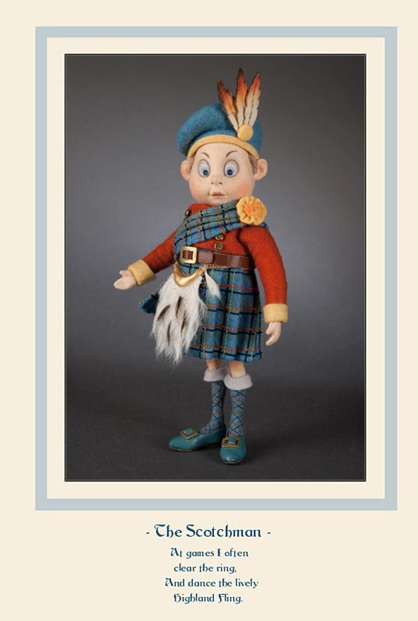 """Based on the original Palmer Cox illustrations, the Brownie Scotchman from R. John Wright Dolls is made of the finest custom-dyed all-wool felt and jointed at the neck and shoulders. He has a molded felt character face, hand painted features, a mohair wig, and incredibly tiny sculptural hands. Measuring approximately 8 1/2"""" tall (without his hat), the Scotchman has heavy wire inside his legs to enable him to be self-standing."""