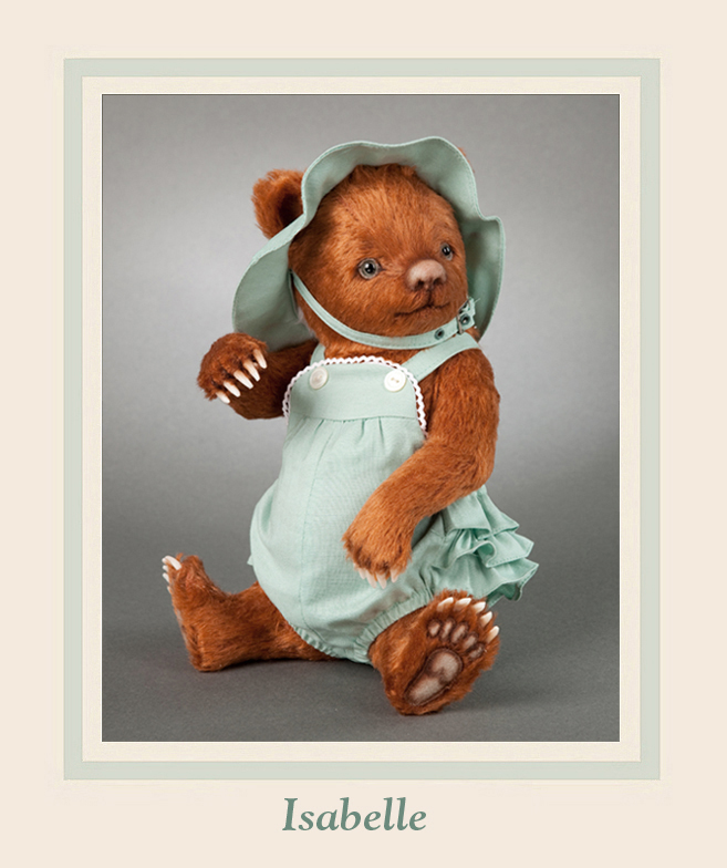 """This adorable little redhead named """"Isabelle"""" is the fifth issue in the new """"Toddler Bears"""" series of cubs dressed in vintage-style children's clothing."""