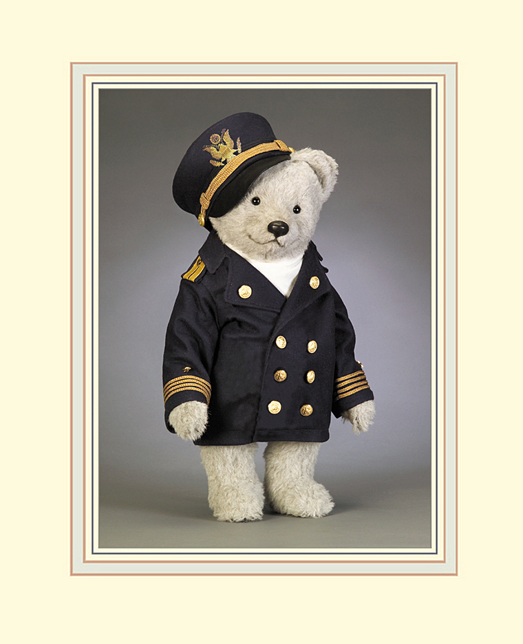 """The Bear Captain, from the RJW BEARS-AT-SEA Collection was released in 2006. Measuring 22"""" standing, he is fully jointed and made of the finest custom-made grey alpaca plush."""