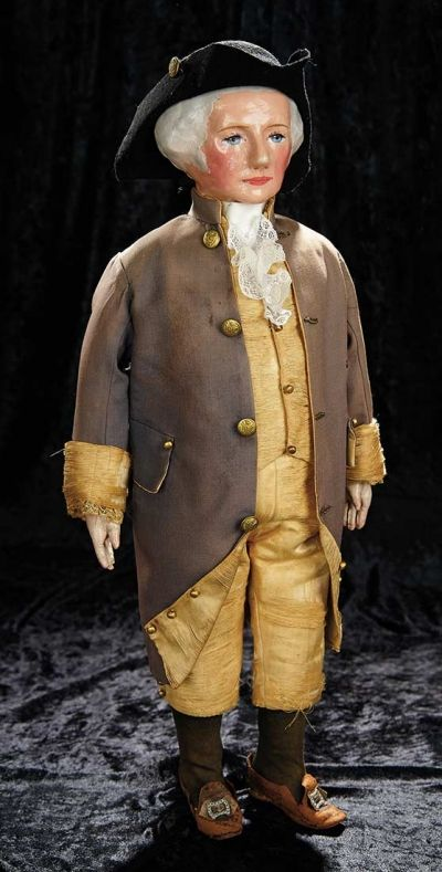 American Cloth Portrait Doll of George Washington in Original Costume by Martha Chase via Theriault's