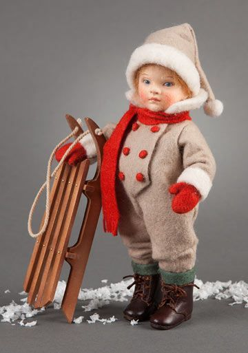 "An adorable little boy named ""Winter"" is the second issue in the ""Four Seasons"" series of toddler dolls dressed in vintage-style children's clothing."