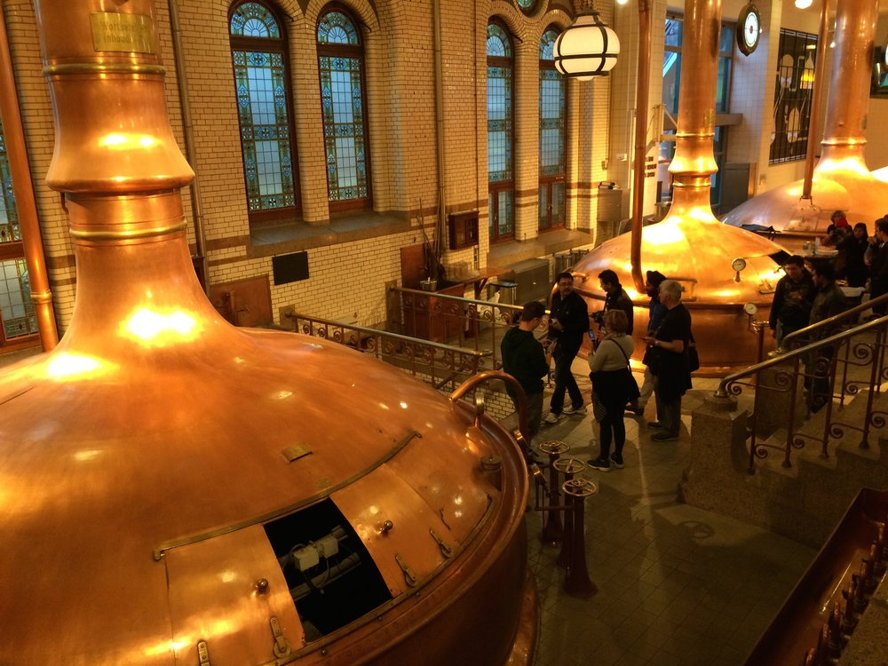 Copper vats in the Art Deco brewery at the Heineken Experience.