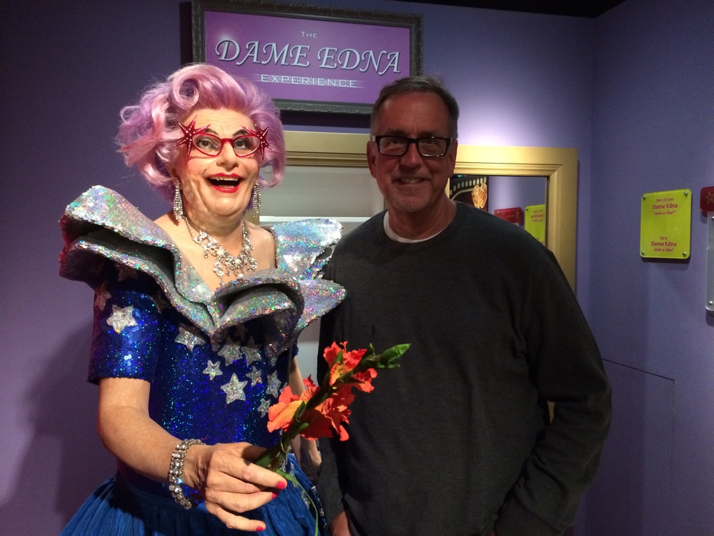 L to R: Wax Dame Edna and John Rust