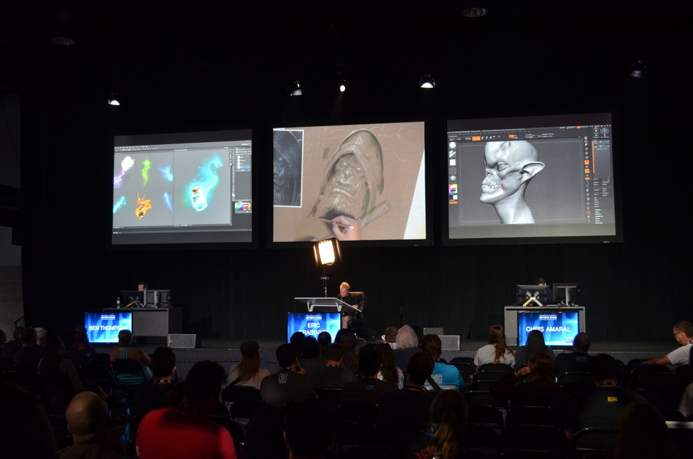 I loved this. Three Blizzard artists on stage working in three different mediums and answering questions.