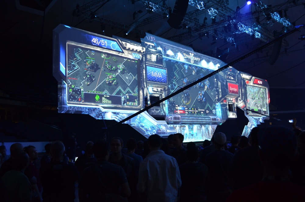 The StarCraft II stadium. Beautiful dimensional screen with projection mapped frame. This was in the main auditorium and it was packed with cheering fans. I'd read about e-sports, but this was the first time seeing it in person.