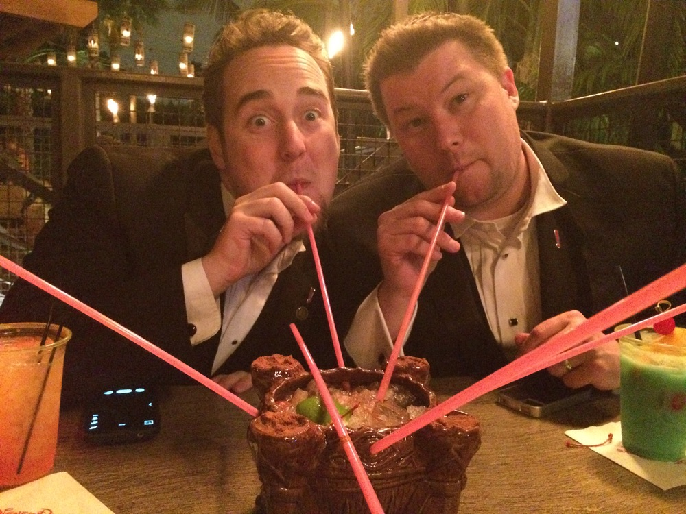 Mike and Josh share a volcano bowl (the exception to the last call plastic cup rule).