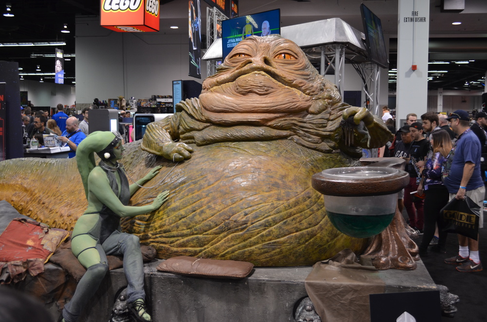 Jabba the Hutt (at the Gentle Giant booth). He was, unsurprisingly, the gathering place for Slave Leias later in the day.