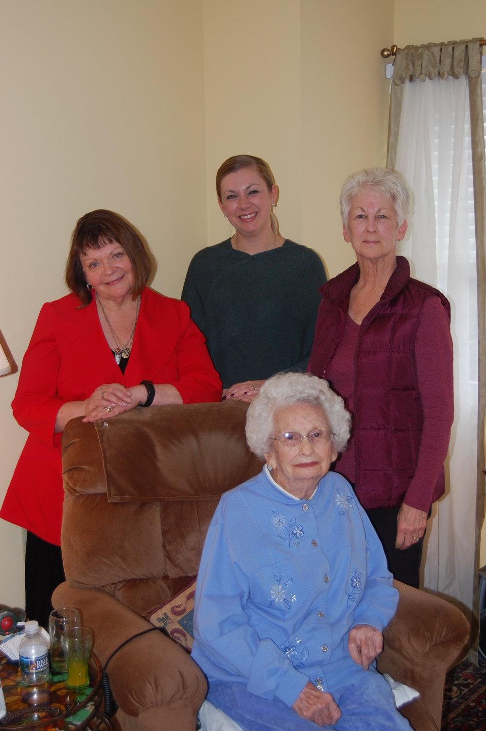 During the Christmas holidays, Elms President  Deborah Farquhar Jones  and  Sarah Hutzler-Psihountakis '07  visited alumna  Jane Botzum Ahern  and her daughter  Maureen Winkelmann .