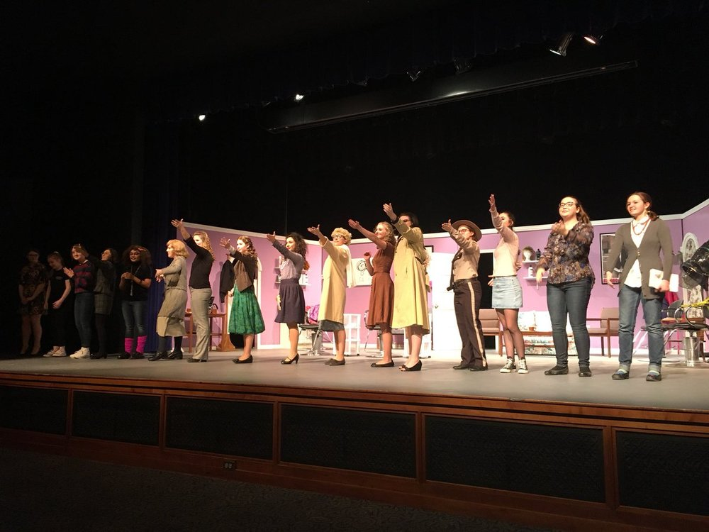 The cast and crew of  A New Style for Murder  take their final bows.