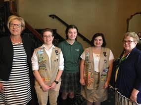 Barbara Sutherland  (center) is one of three recipients of a Leaders of Tomorrow Scholarship from the Girl Scouts of NE Ohio.