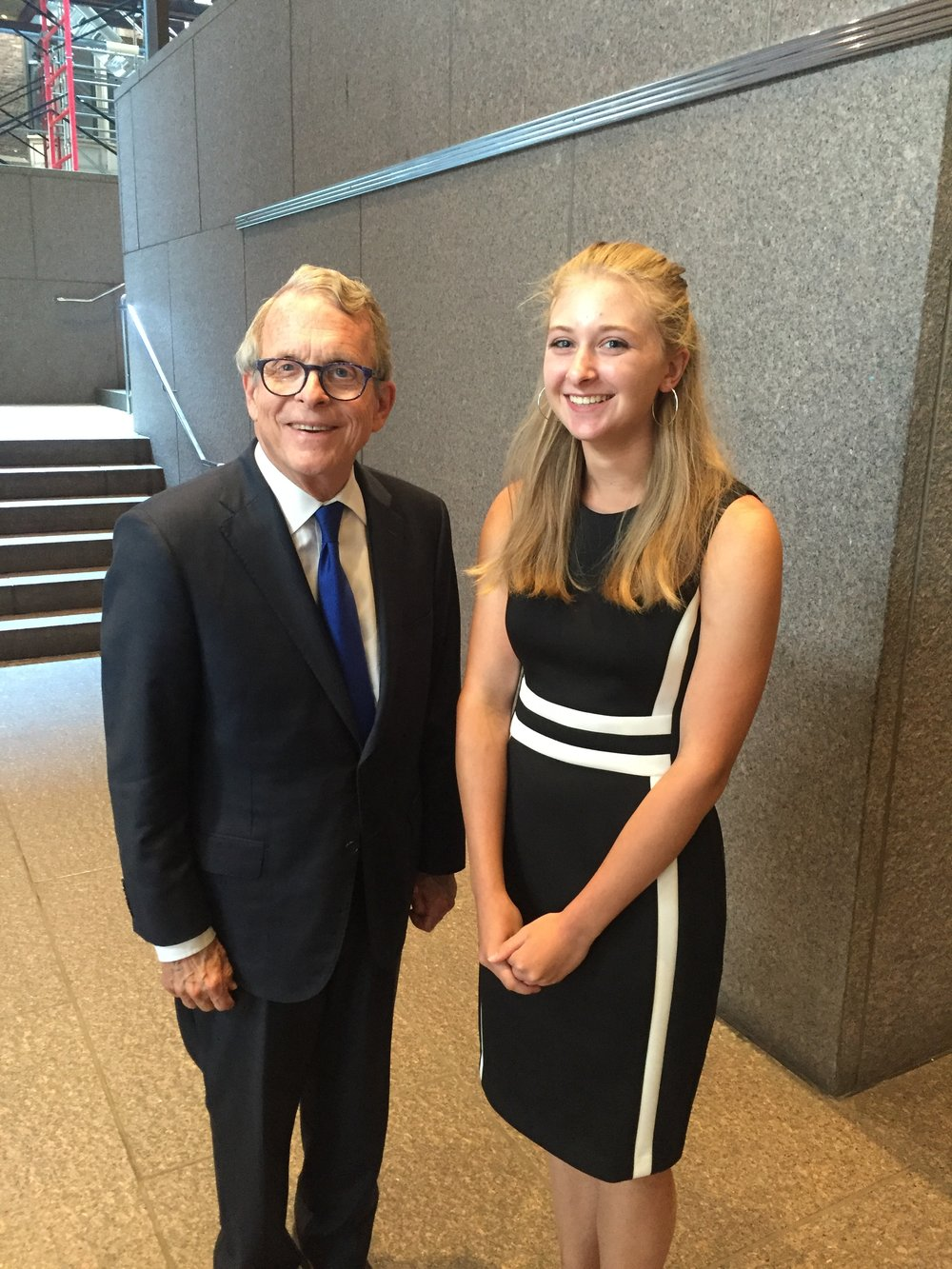 Ohio Attorney General Mike DeWine with Alexis Armstrong.