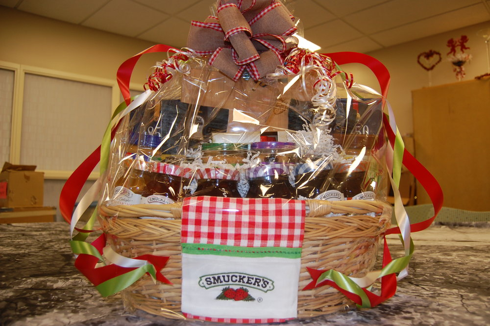 Smucker's has donated a basket full of their products including peanut butter, jellies, ice cream toppings, coffee, Jif power ups and chocolate poppers and Sahale banana rum pecans.