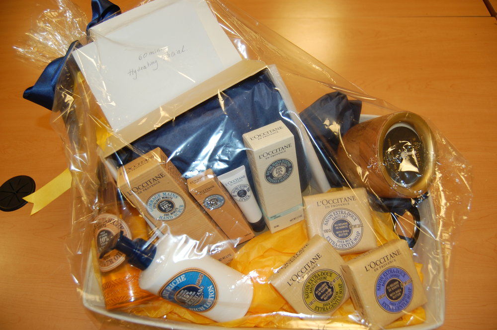 L'occitane spa basket including a 60 minute spa facial and products.