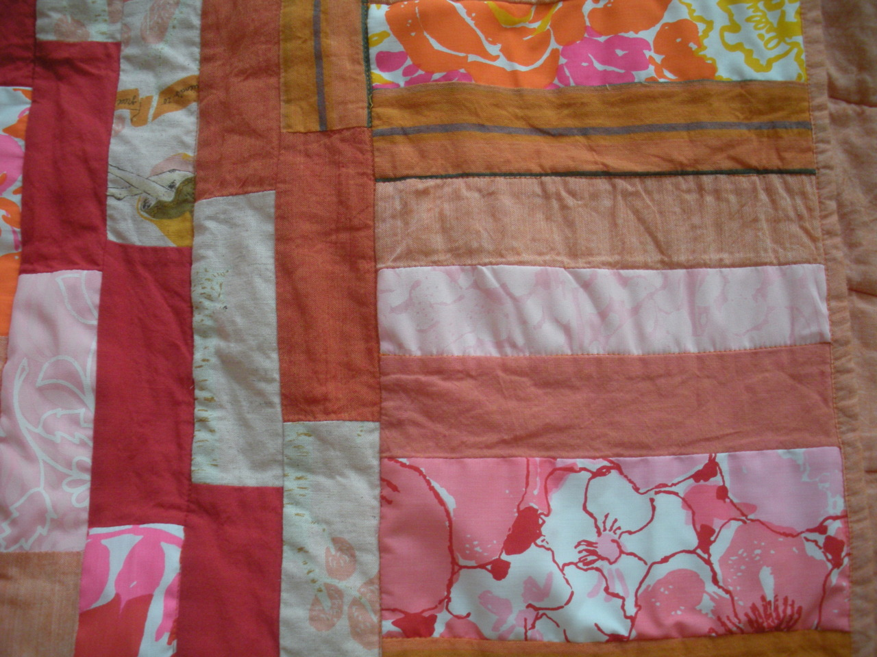 I incorporated some vintage fabrics into this one.