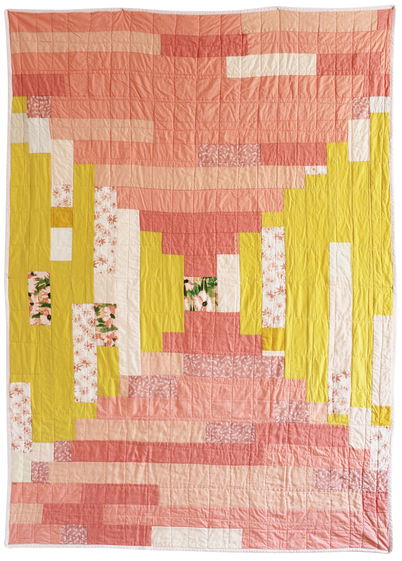 "Summer Day Quilt - 52"" x 75"" I crave these colors in the Summertime. The juicy peaches and sunny yellows are at the same time theraputic and energizing. I started this modern take on the Courthouse Steps motif with a precious square of my all time favorite Leah Goren print, and from there it grew outwards. Along the way it became a study in perspective. As I added strips, I imagined the cheer it could bring to a home on a cloudy day. I give you now my snap shot of Summer, and hope your Summer is going well too (if you live in the Northern Hemisphere). Here. - Gina Rockenwagner"